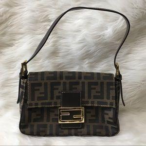 Vintage Fendi Zucca Logo Small Brown Shoulder Bag